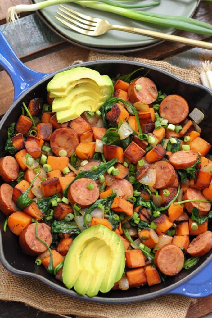 Sausage and Sweet Potato Egg-Free Breakfast Skillet