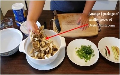 Arrange 1 package of smaller pieces of Oyster Mushrooms