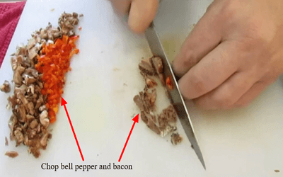 Chop bell pepper and bacon