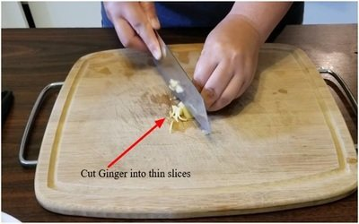 Cut the ginger into thin slices
