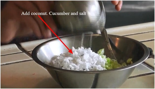Add coconut. Cucumber and salt