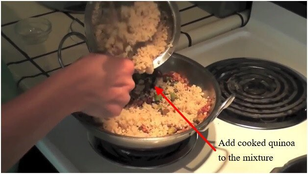 Add cooked quinoa to the mixture