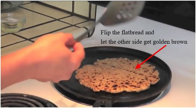 Flip the flatbread and let the other side get golden brown