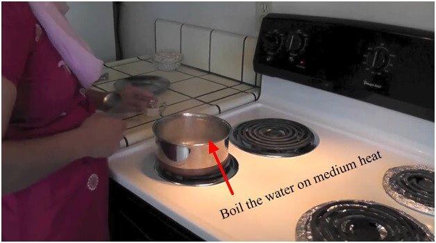 Boil the water on medium heat