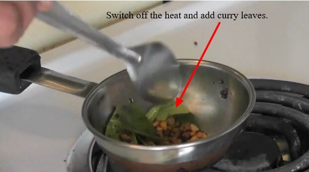 Switch off the heat and add curry leaves