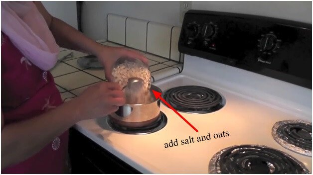 add salt and oats